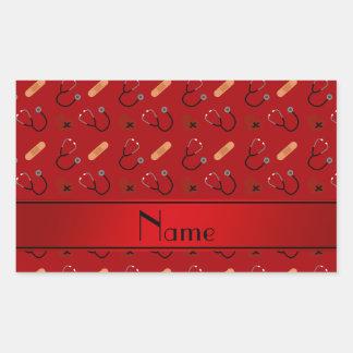 Corazón rojo conocido personalizado del vendaje pegatina rectangular