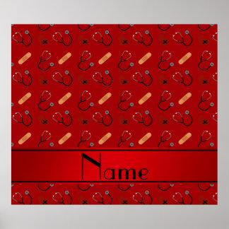 Corazón rojo conocido personalizado del vendaje póster
