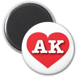 Corazón rojo de Alaska - amor grande Imán Redondo 5 Cm