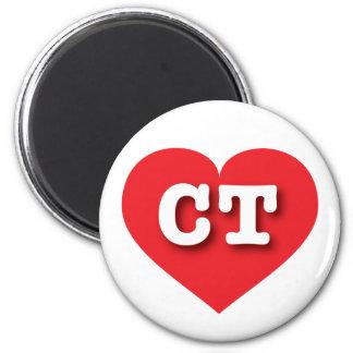 Corazón rojo de Connecticut - amor grande Imán Redondo 5 Cm