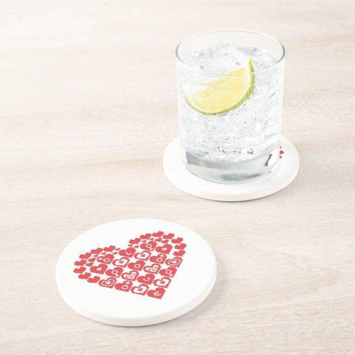 CORAZÓN rojo de corazones Posavaso Para Bebida