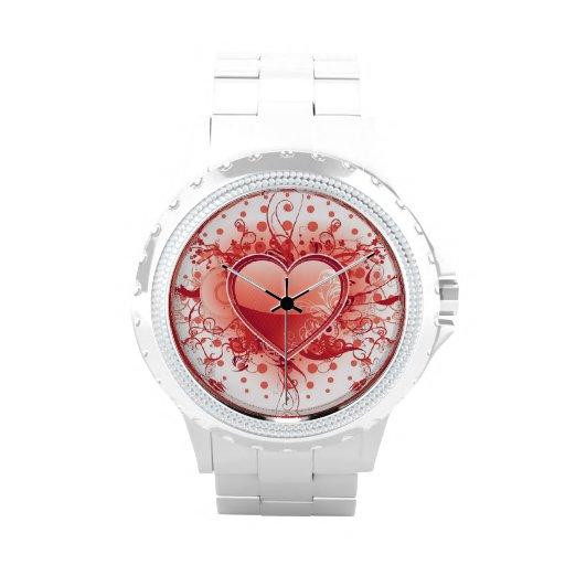 Corazón rojo de Emo Relojes De Pulsera