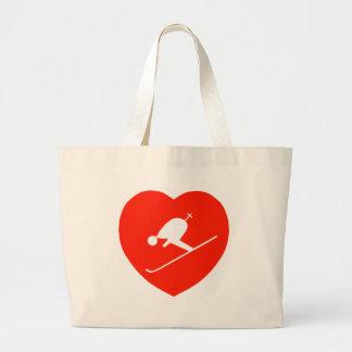 Corazón rojo de esquí del amor bolsa de mano