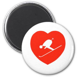 Corazón rojo de esquí del amor imanes