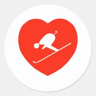 Corazón rojo de esquí del amor etiqueta