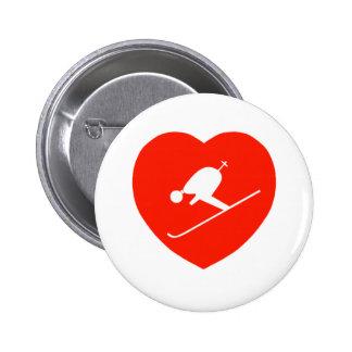 Corazón rojo de esquí del amor pin
