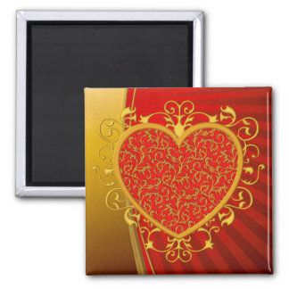 Corazón rojo de la flor de lis del oro imán cuadrado