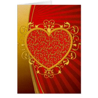 Corazón rojo de la flor de lis del oro tarjeta de felicitación