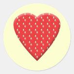 Corazón rojo de la fresa etiqueta
