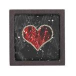 Corazón rojo de la perla caja de recuerdo de calidad