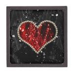 Corazón rojo de la perla cajas de joyas de calidad
