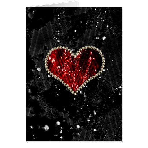 Corazón rojo de la perla felicitación