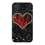 Corazón rojo de la perla iPhone 4/4S carcasa