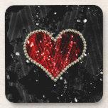 Corazón rojo de la perla posavasos de bebida