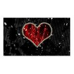 Corazón rojo de la perla tarjetas de visita