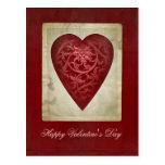 Corazón rojo de la tarjeta del día de San Valentín Postal