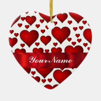 Corazón rojo de las tarjetas del día de San Adorno Para Reyes