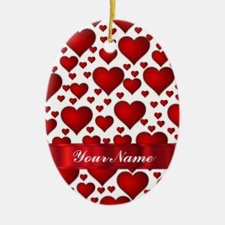 Corazón rojo de las tarjetas del día de San Ornamentos De Reyes Magos