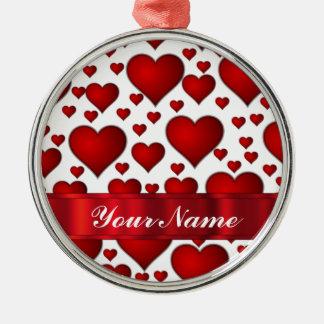 Corazón rojo de las tarjetas del día de San Adornos De Navidad