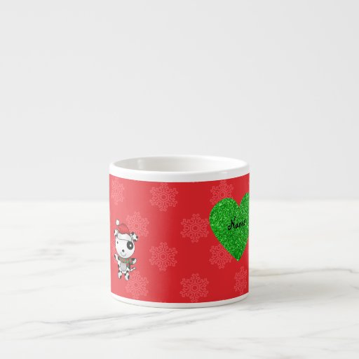 Corazón rojo de los copos de nieve del perro lindo tazas espresso