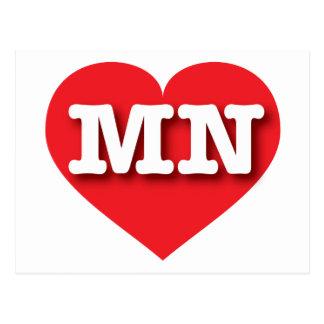Corazón rojo de Minnesota - amor grande Postales