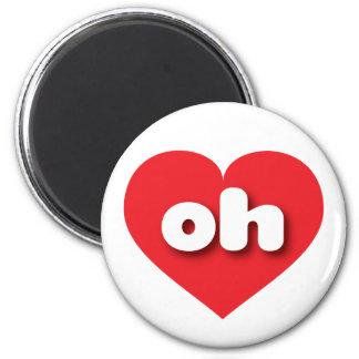 Corazón rojo de Ohio oh Imán Redondo 5 Cm