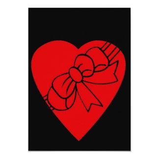 """Corazón rojo del amor, arco de la cinta, parte invitación 5"""" x 7"""""""