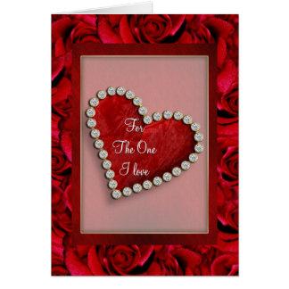 Corazón rojo del amor de la tarjeta del día de San