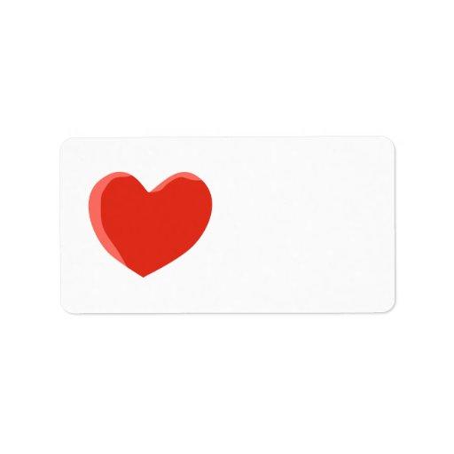 Corazón rojo del amor etiquetas de dirección