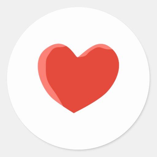 Corazón rojo del amor pegatina redonda