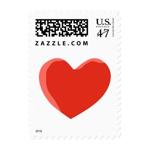 Corazón rojo del amor sello postal