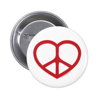 Corazón rojo del amor, signo de la paz pin