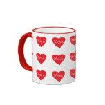 Corazón rojo del amor taza de café