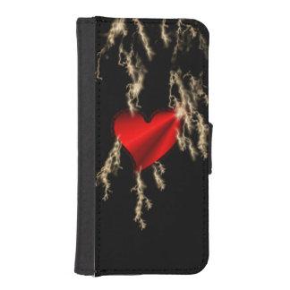 Corazón rojo del arco iris con rayo carteras para teléfono