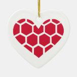 Corazón rojo del balonmano adorno de navidad