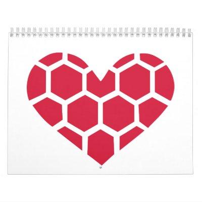 Corazón rojo del balonmano calendarios