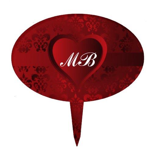 Corazón rojo del damasco figura para tarta