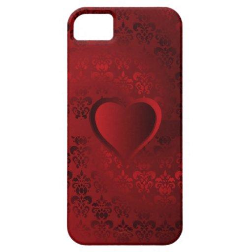 Corazón rojo del damasco iPhone 5 cárcasas
