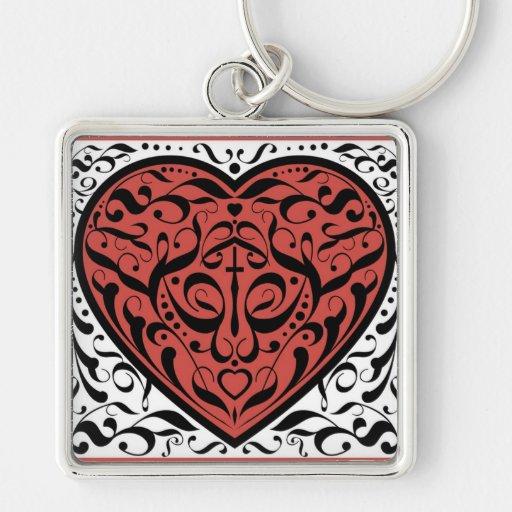 Corazón rojo del damasco romántico y negro estiliz llavero cuadrado plateado