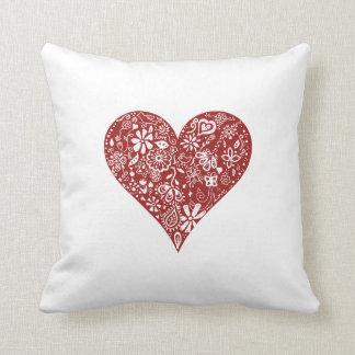 Corazón rojo del Doodle Cojín