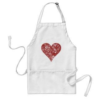 Corazón rojo del Doodle Delantal