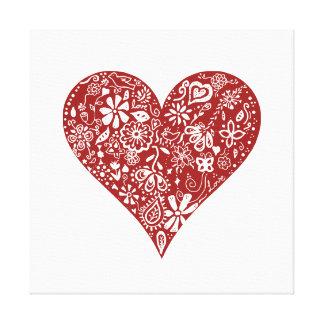Corazón rojo del Doodle Impresion De Lienzo