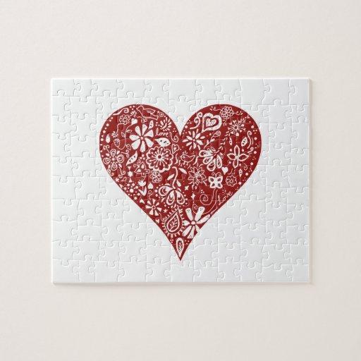 Corazón rojo del Doodle Puzzle