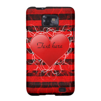 Corazón rojo del emo punky gótico con las rayas galaxy s2 fundas