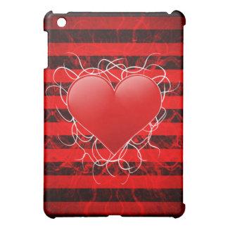 Corazón rojo del emo punky gótico con las rayas ne