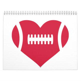 Corazón rojo del fútbol calendarios de pared