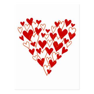 corazón rojo del garabato postales