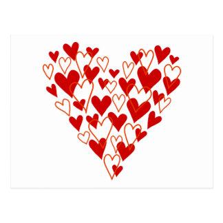 corazón rojo del garabato tarjetas postales