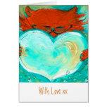 Corazón rojo del gatito, con el amor xx felicitación