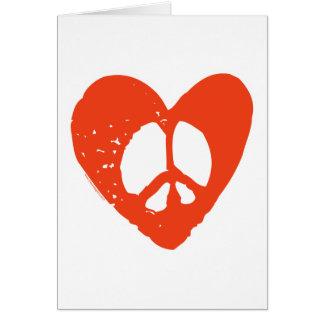 Corazón rojo del Grunge con el signo de la paz Tarjeta De Felicitación